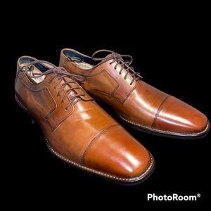 Johnston & Murphy Mens Cognac Leather Cap-Toe Oxfords *Beautiful*